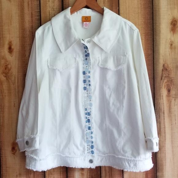 Ruby Rd. Jackets & Blazers - Ruby Rd White Denim Bead Embellished Jacket